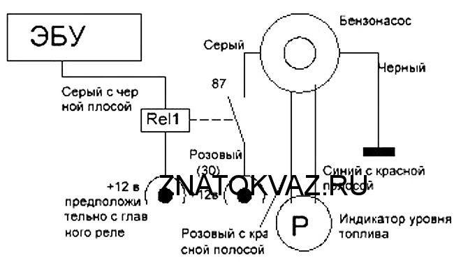 электросхема бензонасоса ваз 2107 инжектор