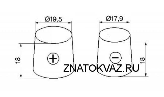 Размеры клемм на аккумуляторе