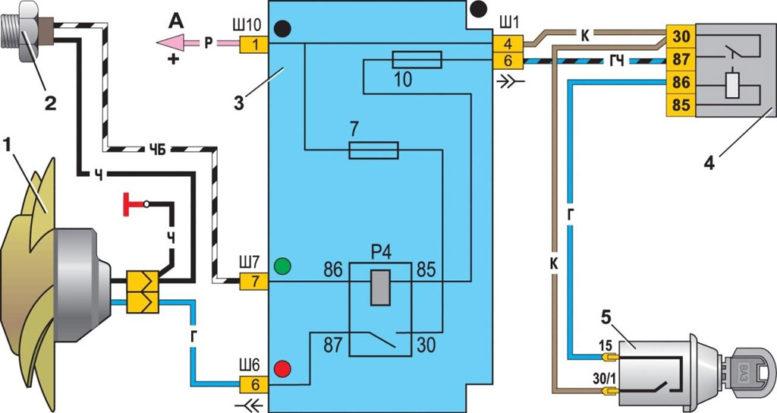 Схема включения электровентилятора на ваз 21076